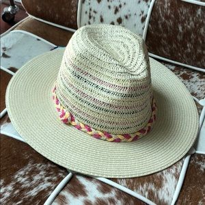 Woven Panama hat with braided trim sunhat nwt
